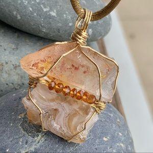 Orange Quartz, Agate & Citrine Bead Necklace